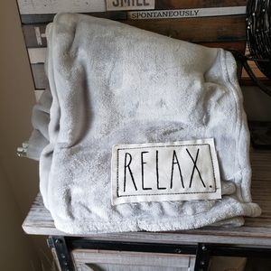 Rae Dunn Relax Gray Plush Throw With Patch New